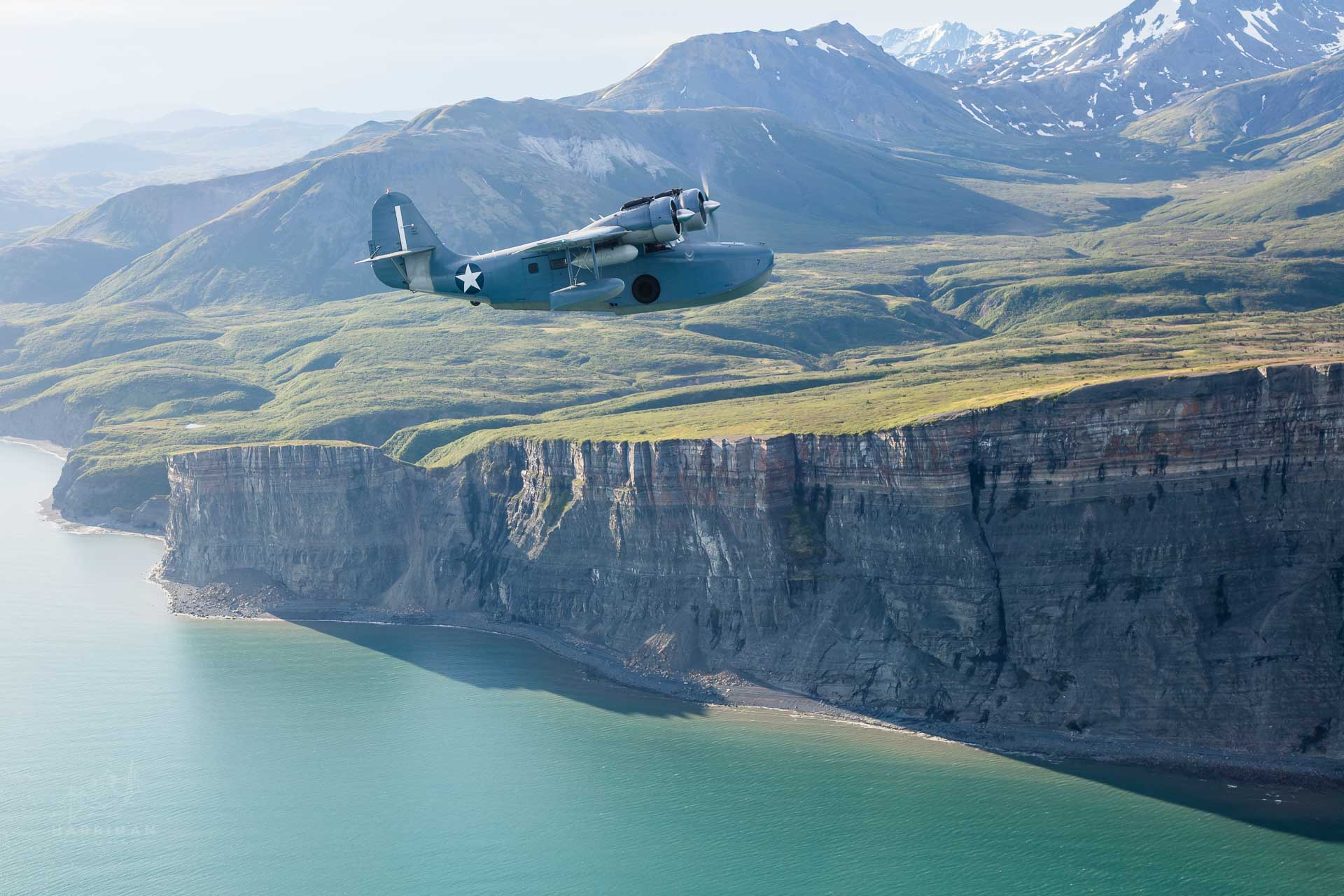RF-5 Grumman Goose Alaska Cliffs Aerial 2